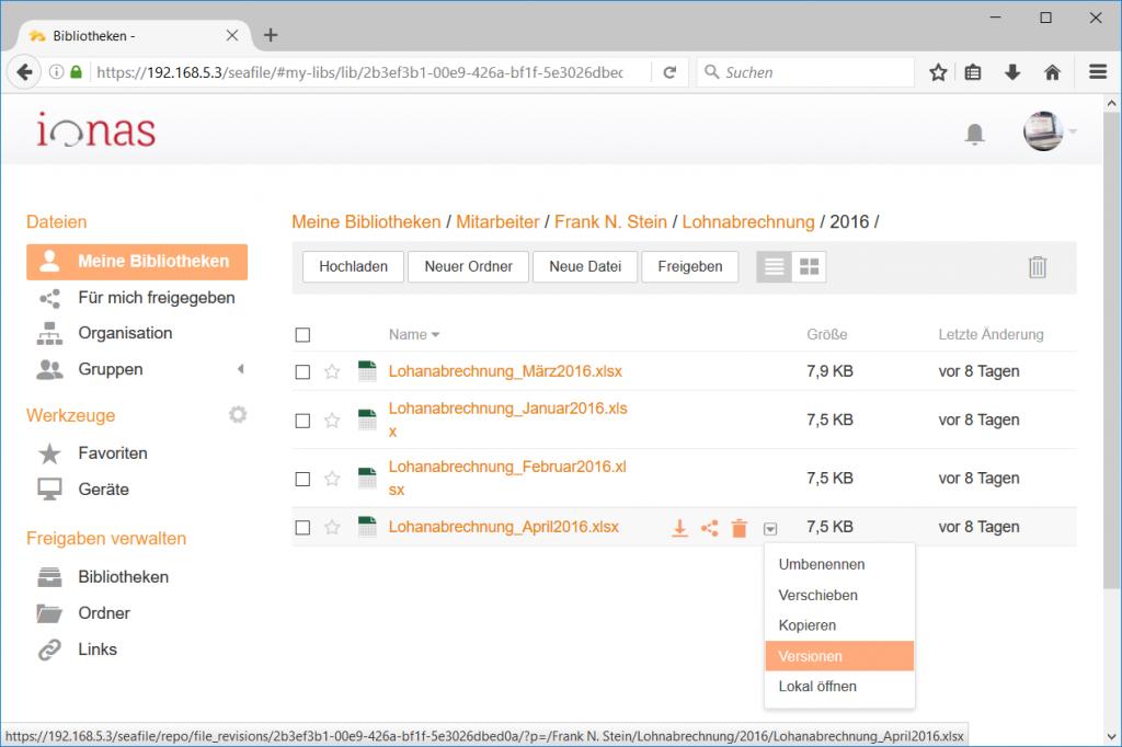 Wiederherstellung von Dateien mittels Seafile Dateiverlauf