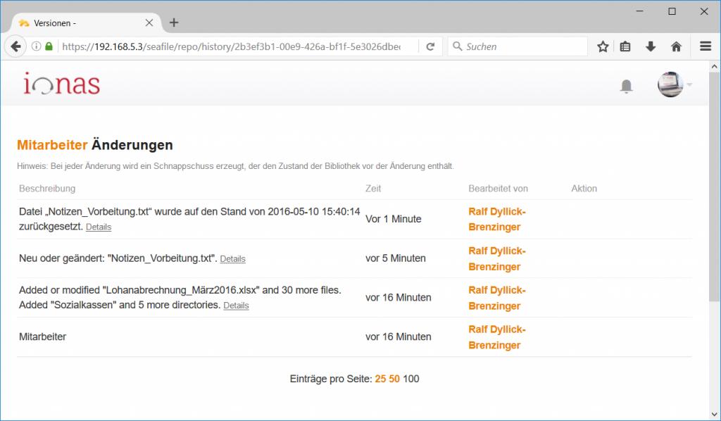 Seafile Dateiverlauf auf Bibliotheksebene