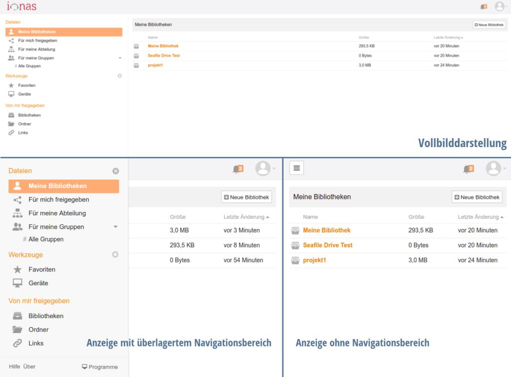 Das neue Responsive Design von Seafile 6.0