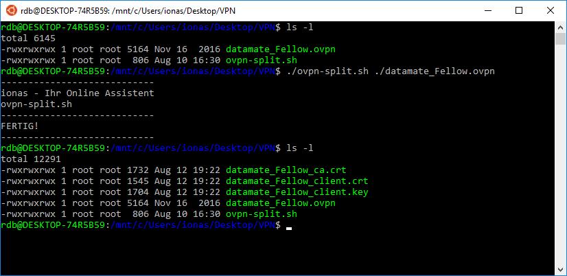 Teilung der OVPN-Datei per Bash-Skript