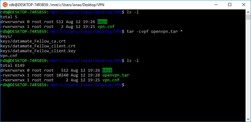 Erzeugung des TAR-Archivs mit der VPN-Konfiguration in einer Bash-Konsolte