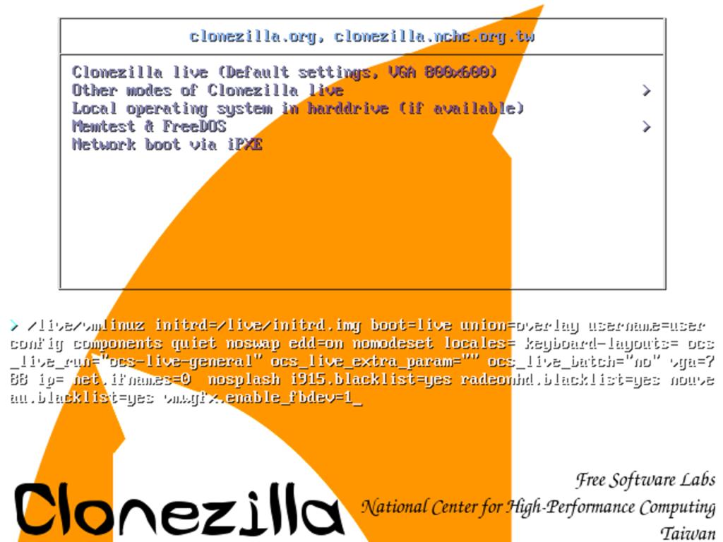 Startmenü von Clonezilla