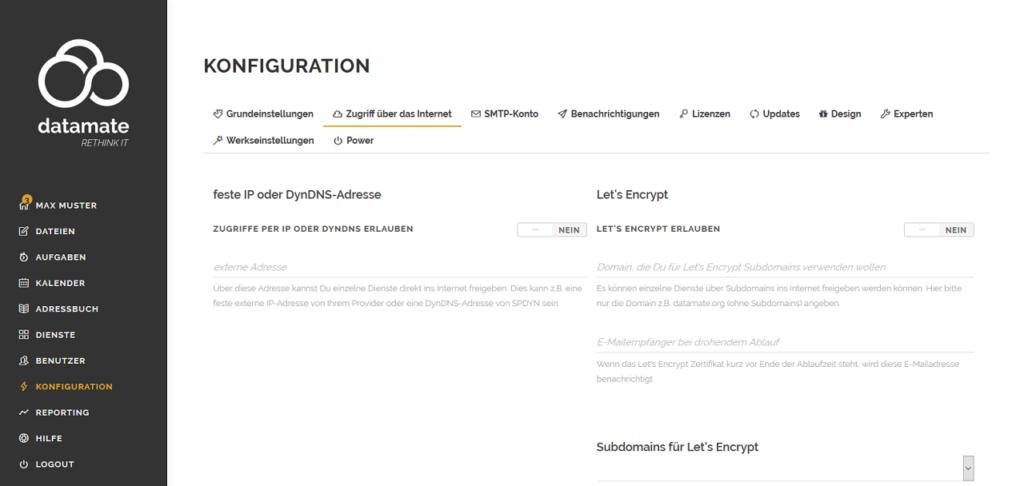 Konfiguration von Freigabe von Diensten ins Internet