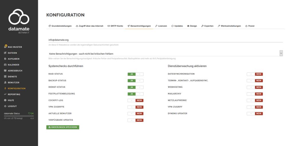 Konfiguration der Systembenachrichtigungen