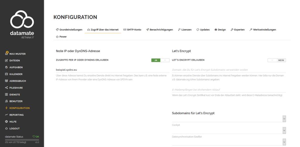 Konfiguration des Zugriffs per DynDNS-Adresse