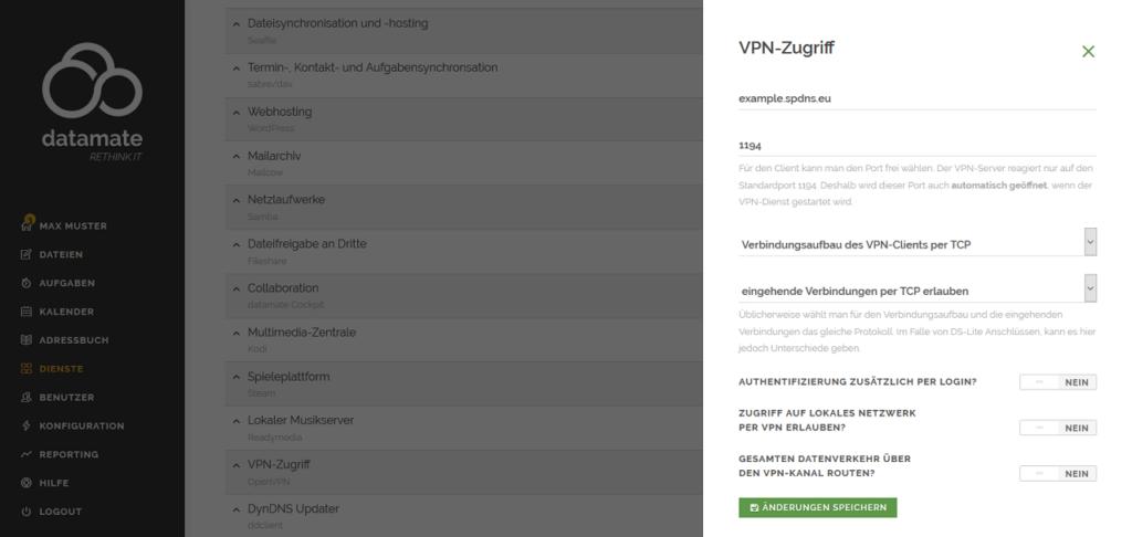 Konfiguration des Zugriffs per VPN