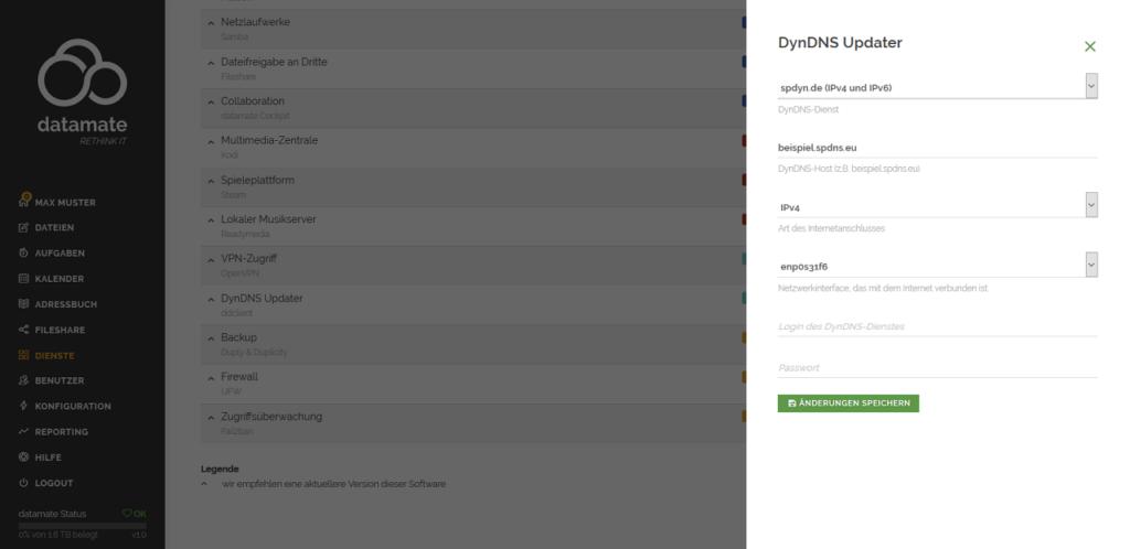 Konfiguration des Zugriffs per DynDNS-Adresse - Konfiguration des DynDNS Updaters
