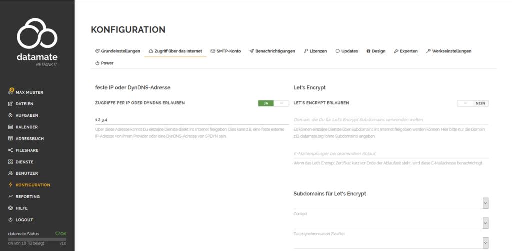 Konfiguration des Zugriffs per fester IP-Adresse