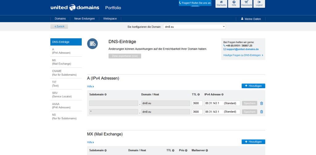 Konfiguration des Zugriffs über Subdomains - Konfiguration der DNS-Einträge