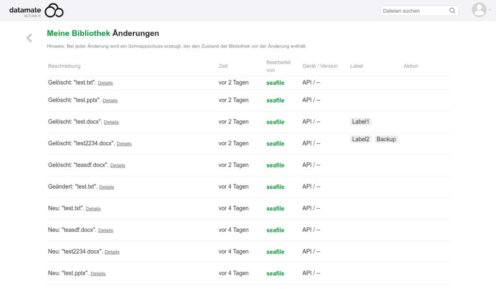 Neue Snapshot Labels - eingeführt in Seafile 6.2
