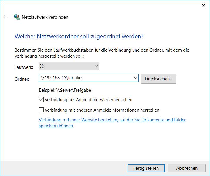 Netzlaufwerk in Windows 10 verbinden