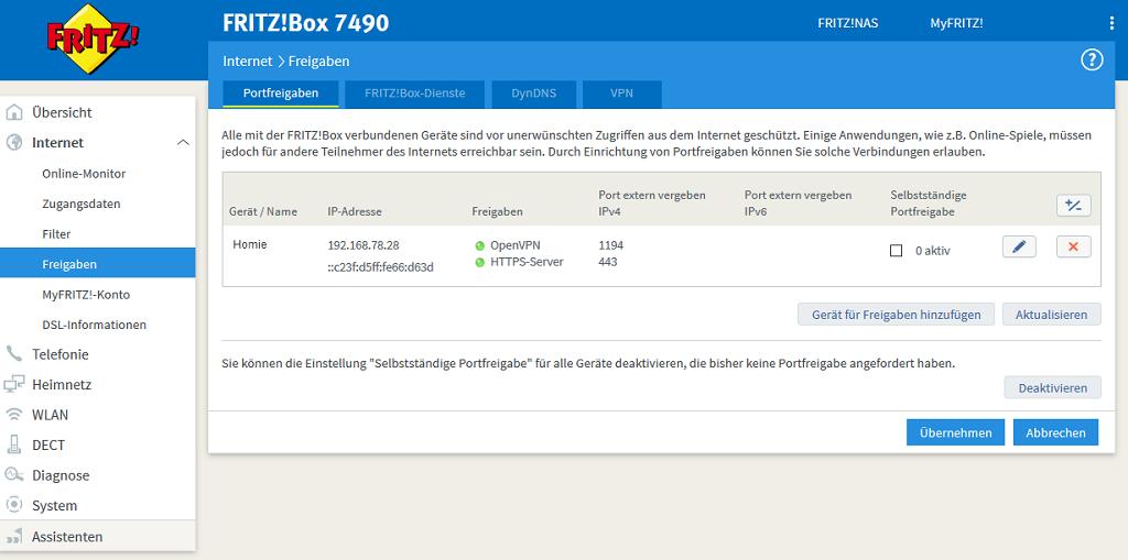 Verwaltung von Portfreigaben in Fritz!Boxen von AVM