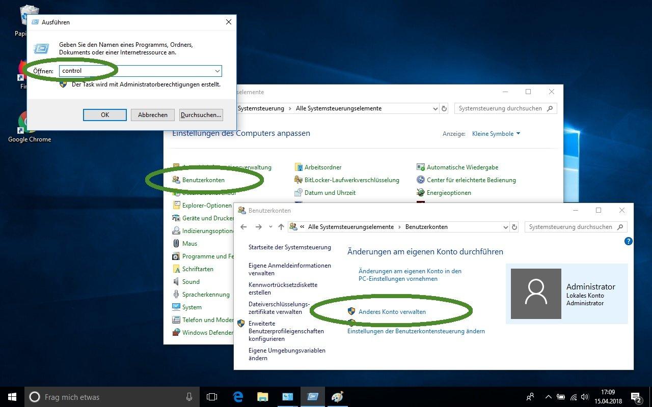 Windows Benutzerpasswort über Systemsteuerung zurücksetzen