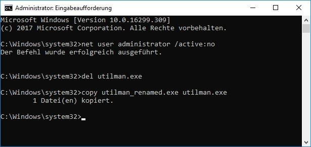 Befehle zur Rückgängigmachung des Windows Hacks