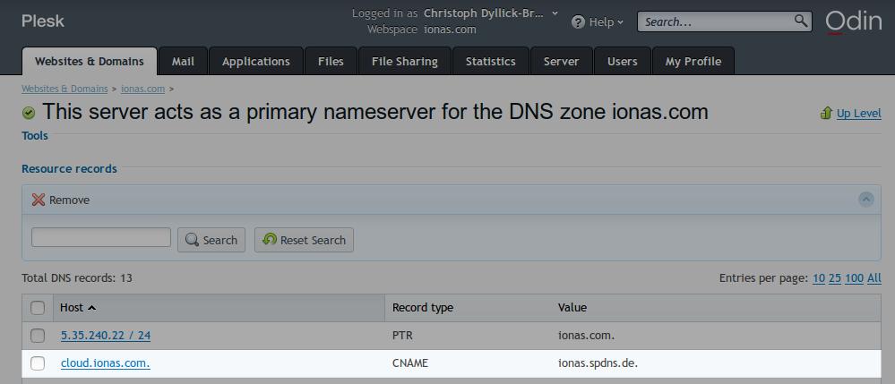 Durch den CNAME-Eintrag werden Anfragen an cloud.ionas.com an den ionas-Server im lokalen Netzwerk weitergeleitet.
