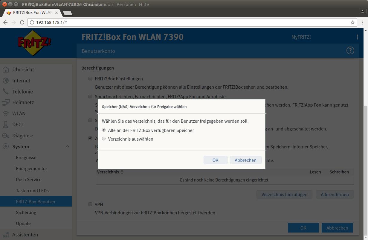 Fritzbox Benutzer anlegen