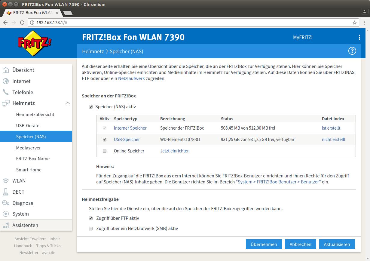 FTP-Speicher auf der Fritzbox aktivieren