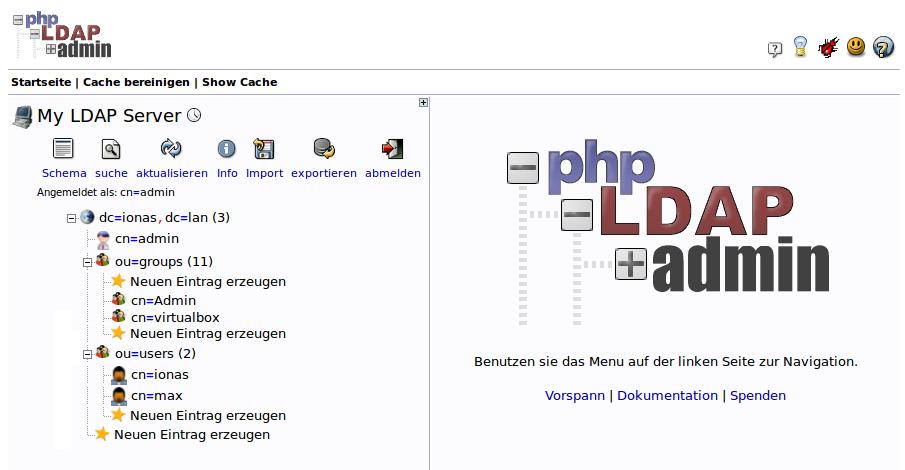 Um phpVirtualBox mit LDAP-Authentifizierung zu ermöglichen, muss die folgende Struktur angelegt werden