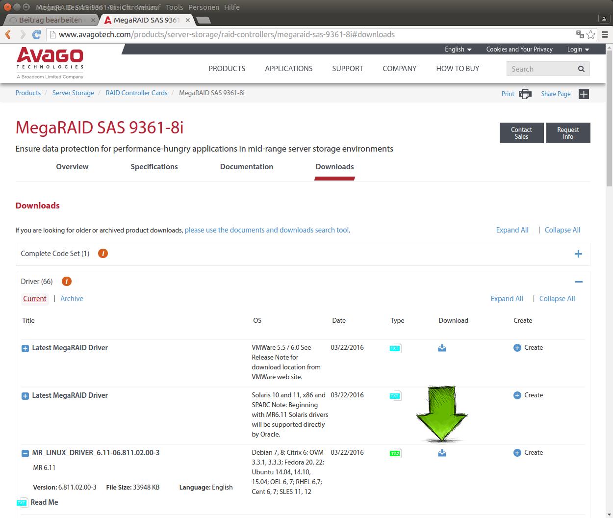 Download der Treiber für die MegaRAID Controller-Karte.