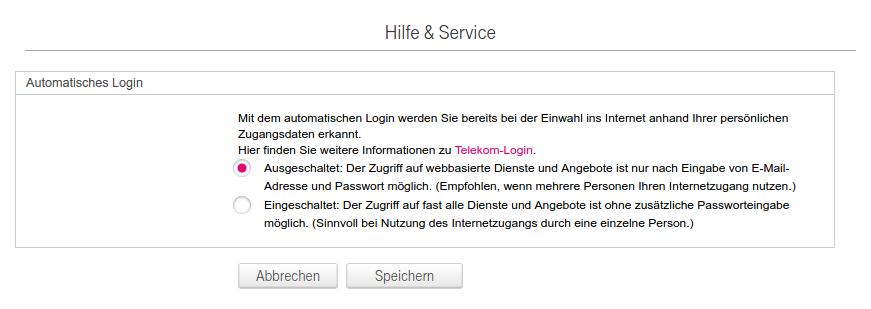 Deaktivierung von MyLogin im Telekom Kundencenter