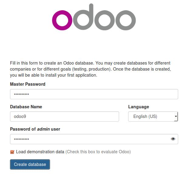initiale Datenbank in Odoo anlegen