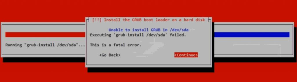 die Ausführung von >>grub install /dev/sda<< ist fehlgeschlagen