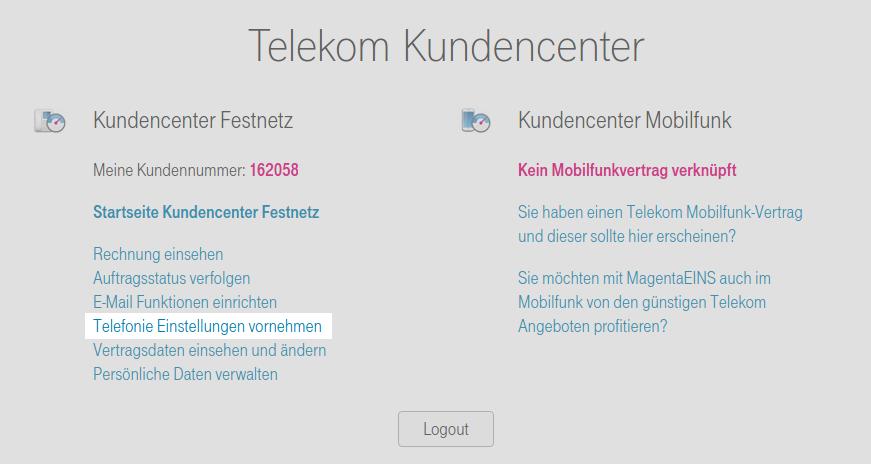 Startseite des Telekom Kundencenter