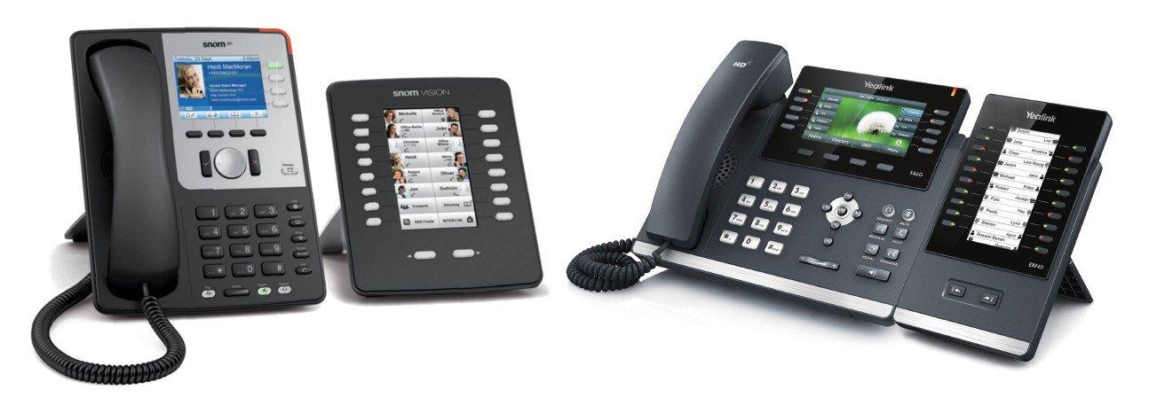 Tastaturerweiterungen für VoIP Telefone Snom und Yealink erhöhen die Anzahl der Schnellwahltasten.