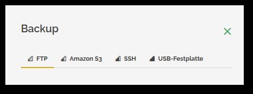 neues Backupziel SSH im datamate Cockpit 1.3