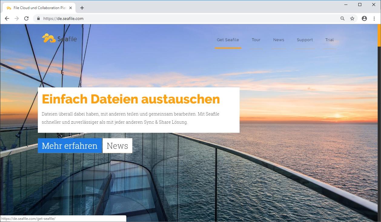 Homepage der deutschen Seafile Webseite