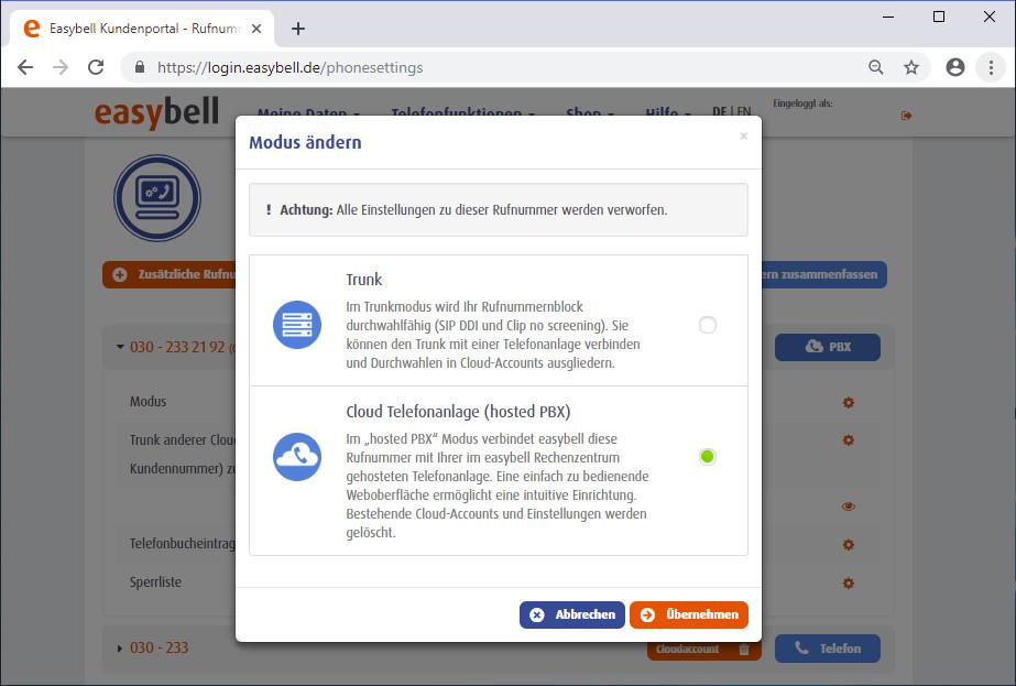 Rufnummern Verwaltung im easybell Kundenkonto
