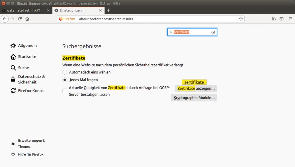 Zertifikatsverwaltung unter Firefox