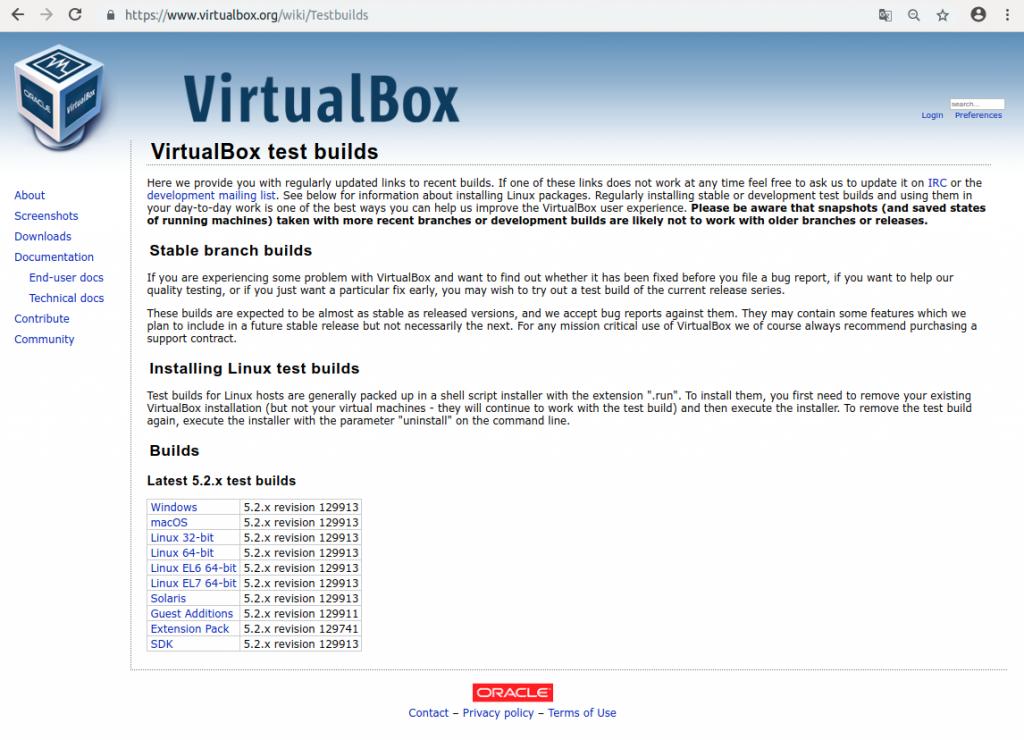 Testbuilds erhält man auf der Seite von Virtualbox