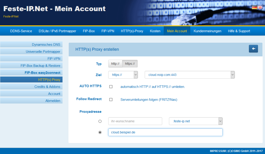 Eingerichteter HTTP-Proxy mit eigner Subdomain