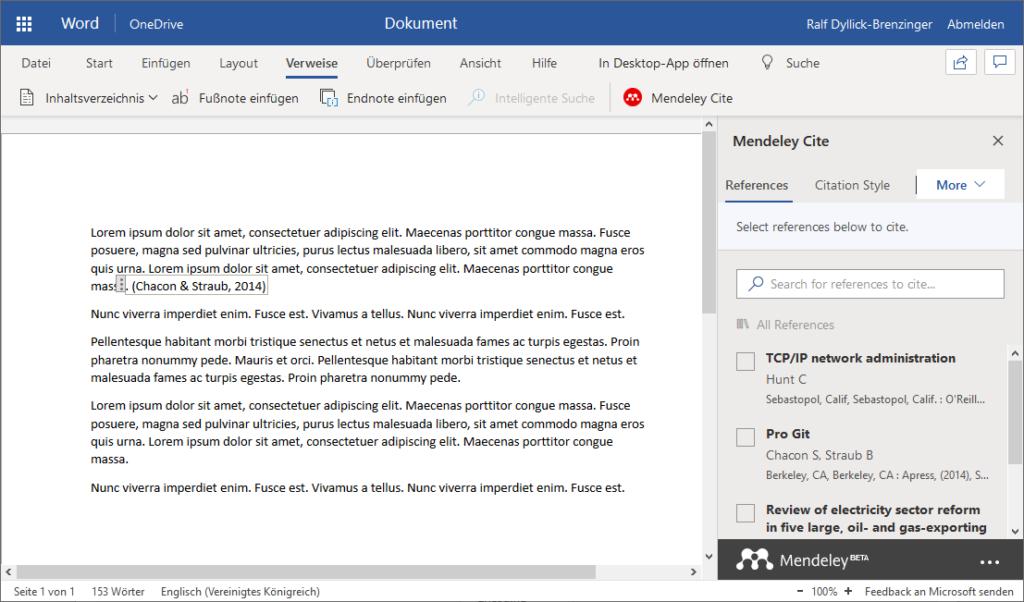 Microsoft Office Online mit Mendeley als Literaturverwaltungslösung