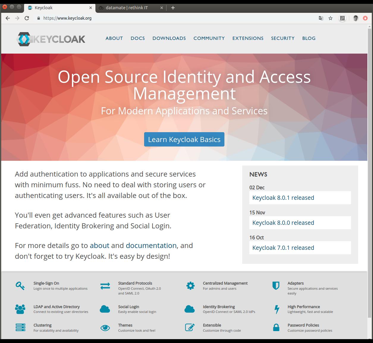 Keycloak Startseite