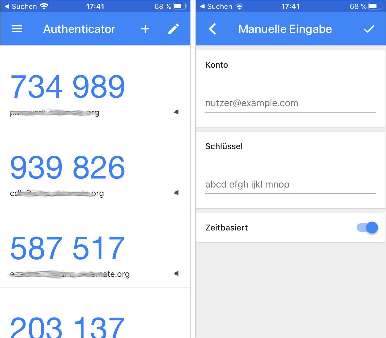 Vorschau des Google Authenticators