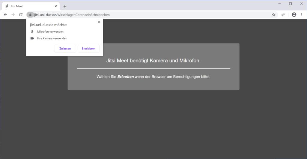Erteilung der Browser-Berechtigungen auf Kamera und Mikrofon
