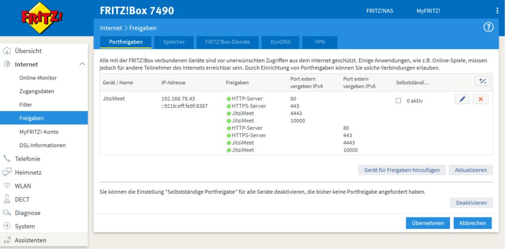 Portweiterleitungen in einer Fritz!Box für den Betrieb von Jitsi im Heimnetzwerk