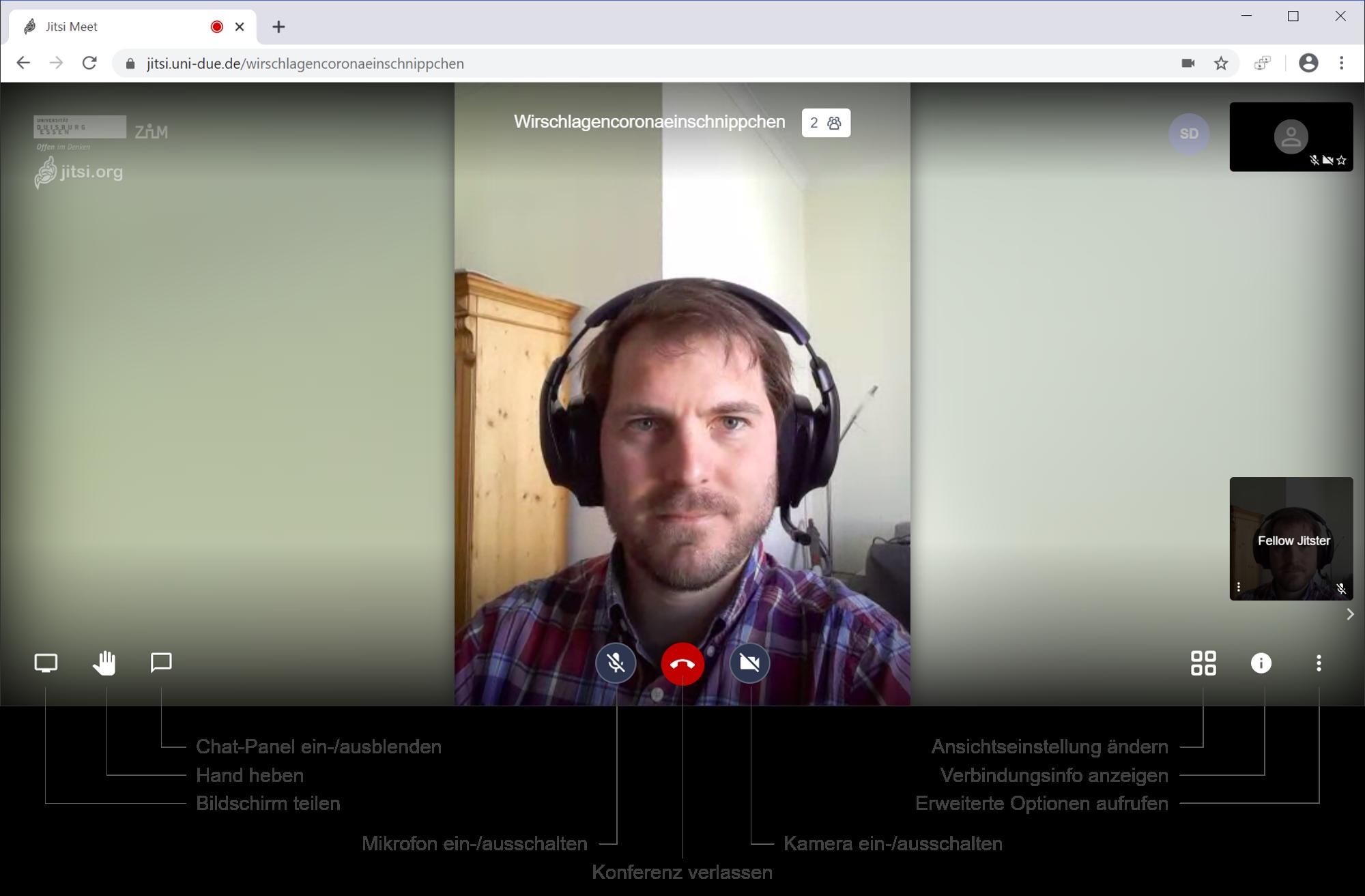 Benutzeroberfläche Jitsi Webkonferenz